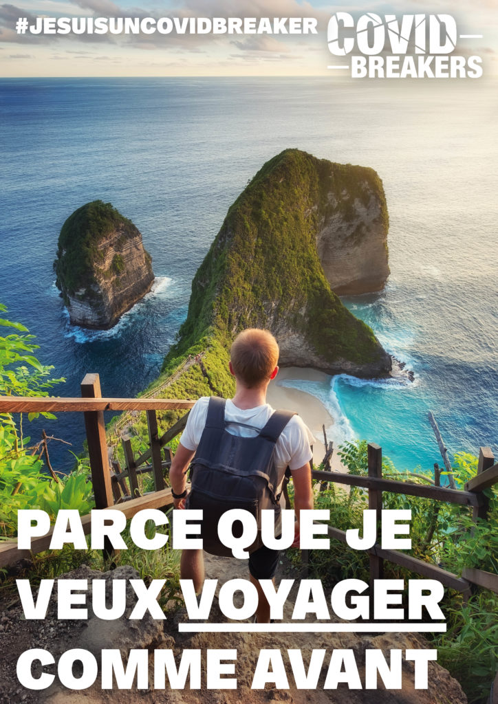 """Jeune covid breaker avec un sac à dos descendant un escalier menant à une plage entourée par la mer """"parce que je veux voyager comme avant"""""""