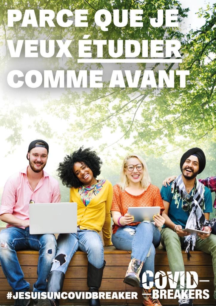 """Jeunes covid breakers souriant assis en groupe sur un banc dans un parc """"parce que je veux étudier comme avant"""""""