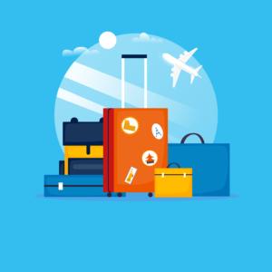 coronavirus : voyages à l'étranger - valises avec en arrière-plan un avion décollant