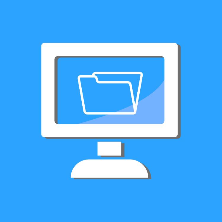 Icône d'un ordinateur montrant un dossier Covid-19 à l'écran