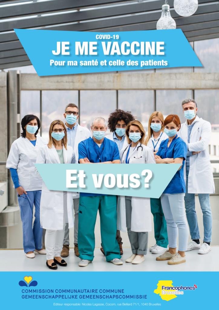 """Personnel soignant qui se vaccine contre le covid-19 et demandant à la population """"et vous ?"""""""