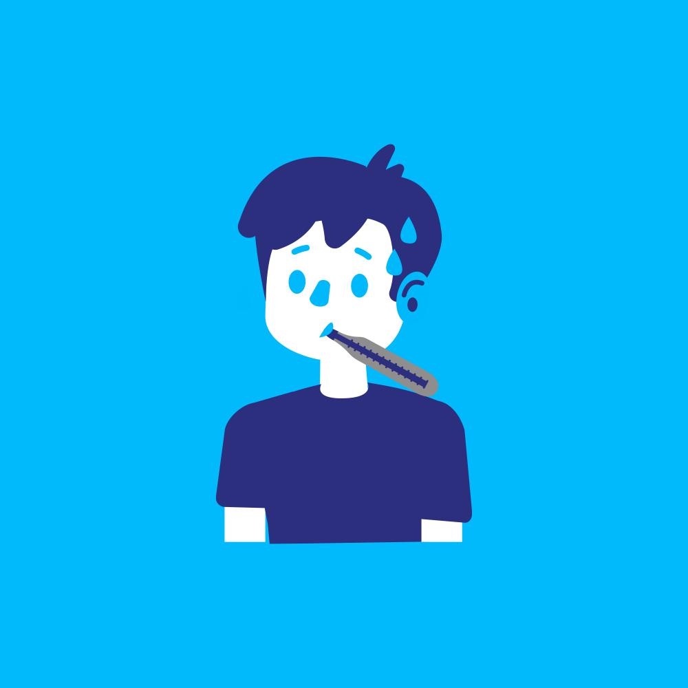 Symptômes Covid-19 : Personne ayant de la fièvre et prenant sa température dans la bouche