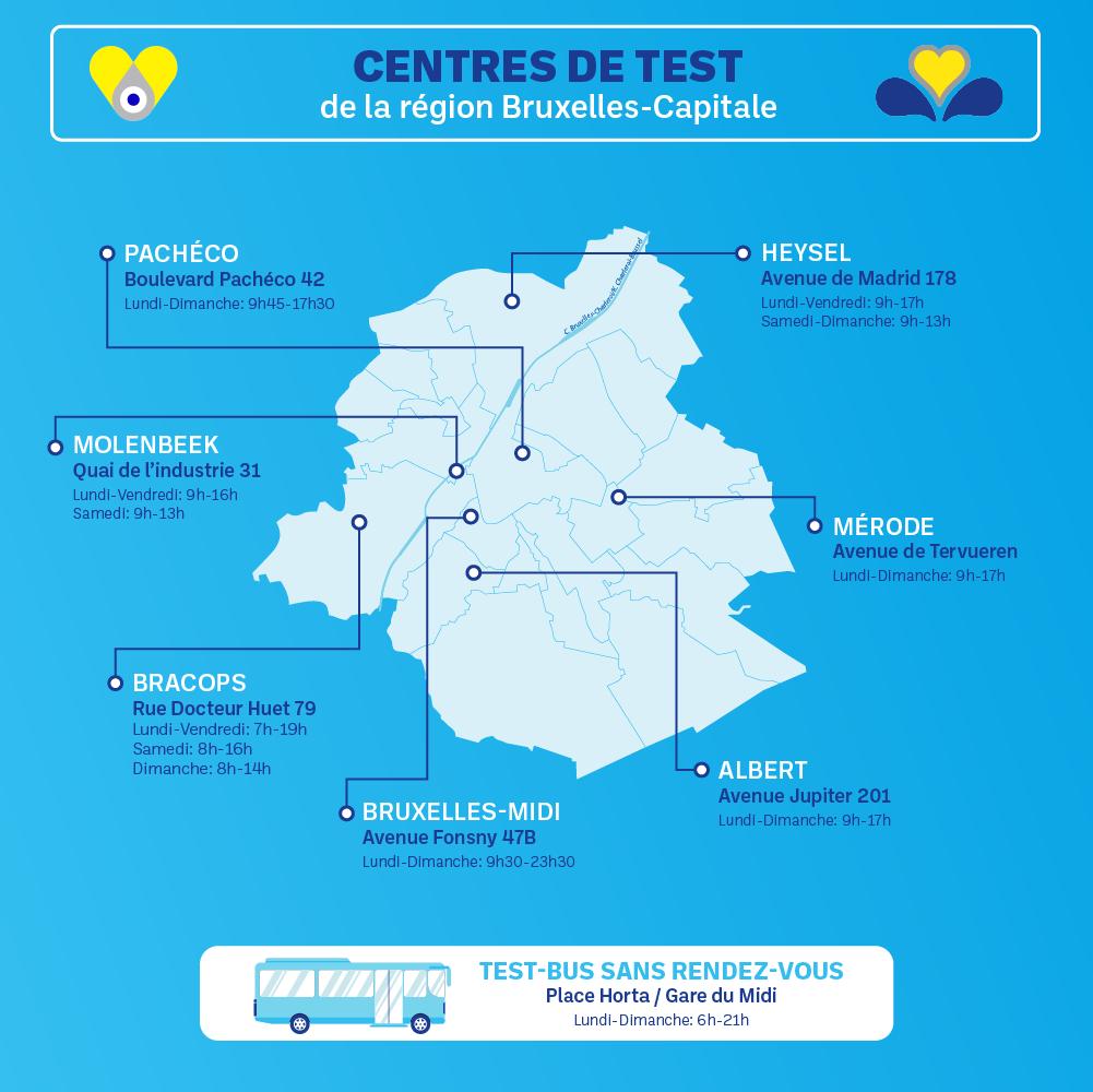 carte des centres tests covid à bruxelles