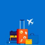 Link naar FAQ over reizen - foot geeft vliegtuig en valiezen weer