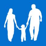 Link naar ' kinderen en ouders' - footo geeft een gezin met 1 kind weer