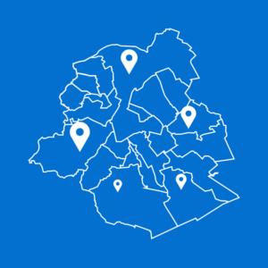 Link naar 'Waar kan ik me laten vaccineren?' - foto geeft kaart van Brussel weer
